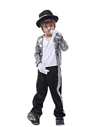 Cosplay Costumes Superstar Movie Cosplay Silver Top Pants Gloves Hat Halloween Christmas New Year Kid Polyester