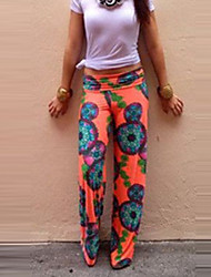 Women's Print Multi-color Wide Leg Pants,Holiday / Beach