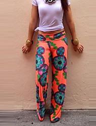 De las mujeres Pantalones Perneras anchas-Vacaciones / Playa Microelástico-Poliéster
