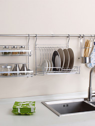ChuYuWuXian Kitchen Utensil Organiser Hanger Tool Dish Rack Spice Rack Wall Mounted Chrome Finished Steel Rack T42