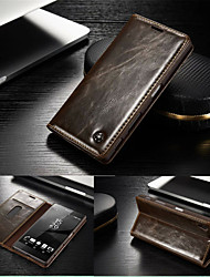 CaseMe Luxury Genuine Leather Wallet Card Slot Cover Flip Case With Stand For Sony Xperia Z5 (Assorted Colors)