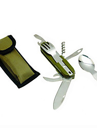 AT6364  Outdoor Multi-Function Folding Knife Tableware Treble