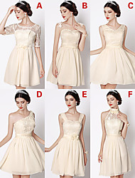 Short/Mini Chiffon / Lace Bridesmaid Dress - Champagne A-line V-neck