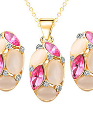 Opal Alloy Earrings Necklace Set(1Set)