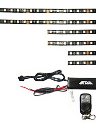3 Size 6pcs Led Strip Remote Control Lighitng Kit For Motorcycle Accent Lighting