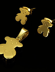 Fashion Gold Plated Stainless Steel Teddy Bear Pendant Earring Jewelry Set(1Set)