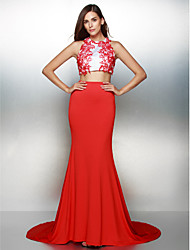Formal Evening Dress - Two Pieces Trumpet / Mermaid Jewel Court Train Jersey with Appliques