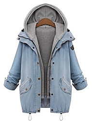 Winter Women's Solid Color Blue Coats & Jackets , Sexy / Casual / Work Pan Collar Long Sleeve