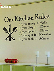 New Our Kitchen Rules  Pattern  Kitchen Wall Sticker Home Decor Vinyl Wall Decal