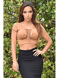 Women's  Lace Up Front Faux Suede Crop Top