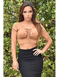 Women's  Lace Up Front Faux Suede Crop Top