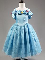 Robe Fille de Jacquard Polyester Eté Bleu