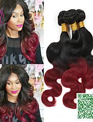 peruanische reine Haarkörperwelle 1b / bordeaux ombre Haarverlängerungen unverarbeiteten 3 Bündel peruanische reine Haarkörperwelle