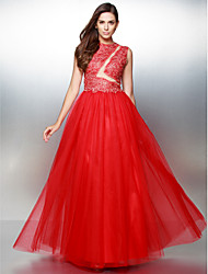 ts couture® de noite formal vestido A linha de Jewel andar de comprimento rendas / tule com laço