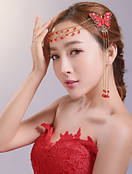 Red Chinese Style Butterfly Crystal Headpiece - Wedding / Special Occasion Head Chain / Hair Clip