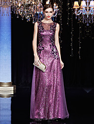 Formal Evening Dress Sheath / Column Jewel Floor-length Charmeuse / Sequined with Appliques / Sequins