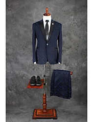 Suits Tailored Fit Notch Single Breasted One-button Cotton Blend Checkered 2 Pieces Dark Blue