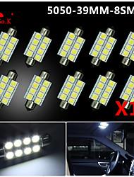 10 X White 39MM 5050 8SMD Festoon Dome Map Interior LED Light bulbs DE3423 6418