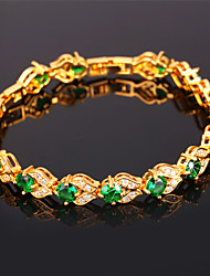 TopGold Bracelets For Women  Jewelry Gift Platinum / 18K Real Gold Plated Fashion Jewelry Green Crystal Bracelet