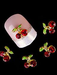 10Pcs/Set Nail Supplies Cherry Stones 3D Nail Art Decoration Crystal Rhinestone For Nail Alloy Glitters DIY