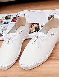 Chaussures Femme - Extérieure / Bureau & Travail / Habillé / Décontracté - Noir / Blanc / Argent - Talon Plat - Bout Arrondi - Plates -
