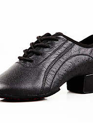 Men's Dance Shoes Heels Leather Low Heel Black