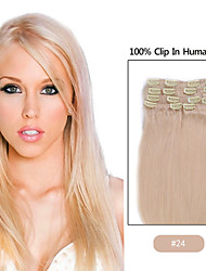 "20""-24"" Inches 8pcs clip in hair extensions human hair blonde"