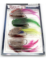 "4 pcs Flies Flies phantom / Multicolored 5g g/1/18 oz. / 1/6 oz. Ounce,70 mm/2-3/4"" inch,Metal / Feather Fly Fishing"