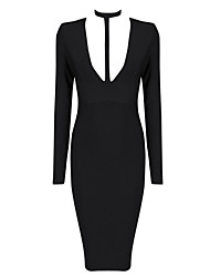 Women's Solid White / Black Bandage Dress , Vintage / Sexy / Bodycon / Casual / Cute / Party Halter / Deep V Long Sleeve