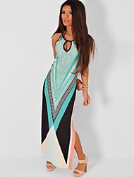 Women's  Multicolor Side Split Maxi Print Dress