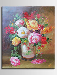 Hand-Painted Still Life With Roses in a Vase Oil Painting , Canvas One Panel