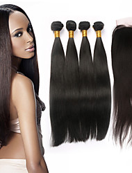 7A Unprocessed Human Hair Products Brazilian 100% Virgin Straight Hair Extensions 4bundles With Lace Closure
