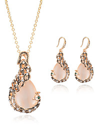 Jewelry Set Gemstone Fashion Peacock Rose Gold Wedding Party Daily Casual 1set 1 Necklace 1 Pair of Earrings Wedding Gifts