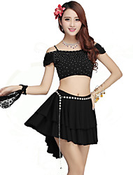 Belly Dance Outfits Women's Performance Rayon / Nylon / Spandex Ruffles 2 Pieces Black Belly Dance Skirt / Top