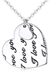 Fashion Cute Hollow Heart-shaped Silver Lettering Clavicle Chain