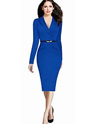 Women's Work Bodycon Dress,Solid V Neck Knee-length Long Sleeve Blue / Black Cotton / Polyester / Spandex Spring