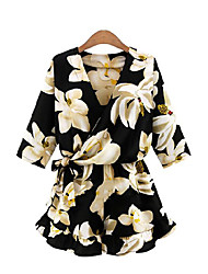 Для женщин Цветочный принт Шинуазери (китайский стиль) Комбинезоны,Праздник Свободный силуэт С короткими рукавами V-образный вырез Лето