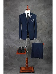 Suits Tailored Fit Notch Single Breasted Two-buttons Cotton Blend Solid Dark Blue