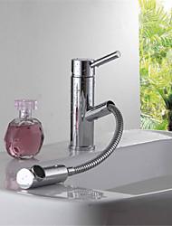bagno lavabo Miscelatore lavello ottone cromato leva maniglia estraibile lavandino tirare miscelatore del rubinetto