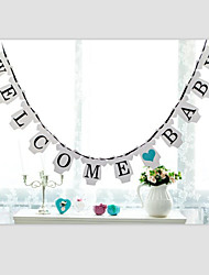 Welcome Baby Paper Hanging Banner Baby Shower Bunting with Ribbon