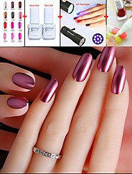 NEW Nail Art Set(5PCS) /1pcs Optional Color Metal Uv Gel Polish+Base & Top Coat+UV Flashligh+Nail Polish Remover Pen