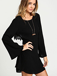 Women's Sexy Back Lace Splicing Round Flare Sleeve Loose Dress