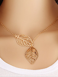 Retro Sen metal Colorful Leaf Necklace