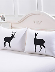 One Pair of Elks Pillowcase Cover Valentine's Day Gifts Plain Printed Cartoon Body Pillow Case 50cmx75cm 2Pcs/Pair