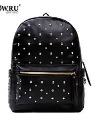 HOWRU® Women 's PU Backpack/Tote Bag/Leisure bag/Travel Bag-Black/White