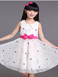 Girl's White / Yellow Dress,Floral Polyester Summer