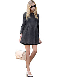 Women's Solid Gray Dress , Casual Round Neck Long Sleeve
