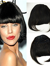 Lovely Remy Hair Bangs Clip-In on Hair Fringe Extension Traceless Hair 30g/1pcs 3 Clips Flat Sides Long Bangs 2 Colors
