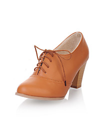Women's Shoes PVC / Leatherette Chunky Heel Heels Heels Wedding / Office & Career / Dress / Casual Black / Yellow