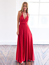 Women's Sexy / Party Solid A Line Dress , Deep V Maxi Cotton